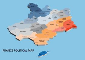 France political isometric map divide by state vector