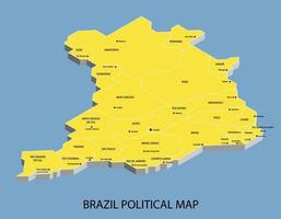Brazil political isometric map divide by state vector