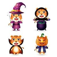 cute tigers with costume halloween character collection vector