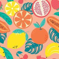 Hand drawn cute seamless pattern  fruits, Orange, Banana, Pomeganate, Cherry, Strawberry, Lemon and leaf on orange pastel background. Vector illustration.
