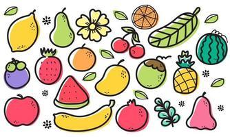 Seamless pattern  fruits, Orange, Banana, Pomegranate, Mangosteen, Strawberry, Pineapple, Watermelon, Lemon, Avocado, Coconut, Rose apple, Cherry, Apple, Flower and Leaf on white background. vector