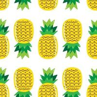 Hand drawn pineapple seamless pattern isolated on white background. Vector illustation.