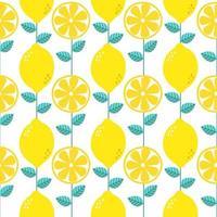 Seamless pattern lemon. Slices of citrus and leaf on white background. Vector illustration.