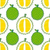 Seamless pattern cute durian fruits and leaf isolated on white background. Vector illustration.