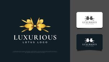 Luxury Gold Lotus Flower Logo Design, Suitable for Spa, Beauty, Florists, Resort, or Cosmetic Product Brand Identity vector