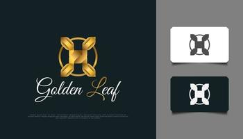 Luxury Golden Leaf Logo Design. Golden Leaf Ornament Suitable for Spa, Beauty, Resort, or Cosmetic Product Brand Identity vector