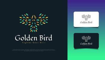Luxury Flying Bird Logo Design in Green and Gold vector