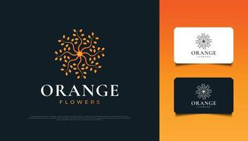 Mandala Flower Logo Design in Orange Gradient. Orange Flower Ornament, Suitable for Spa, Beauty, Florists, Resort, or Cosmetic Product Brand Identity vector