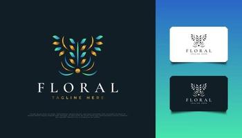 Luxury Abstract Floral Logo Design in Blue and Gold, Suitable for Spa, Beauty, Florists, Resort, or Cosmetic Product Brand Identity vector
