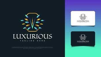 Luxury Floral Logo Design in Blue and Gold, Suitable for Spa, Beauty, Florists, Resort, or Cosmetic Product Brand Identity vector