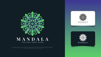 Mandala Flower Logo Design in Green Gradient, Suitable for Spa, Beauty, Florists, Resort, or Cosmetic Product Brand Identity vector