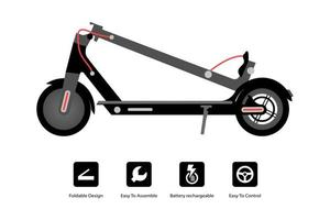 Foldable electric scooter. illustration - Vector. vector