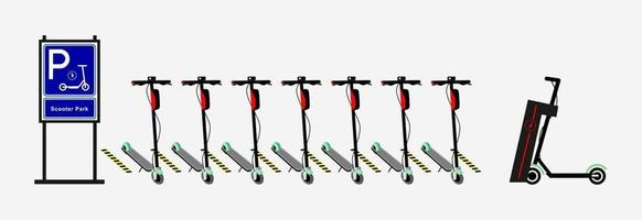 Electric scooter, parking and charging station. Vector. vector