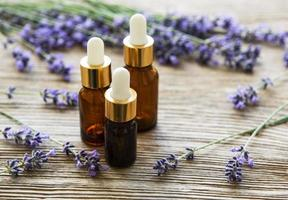 Bottles with lavender oil photo