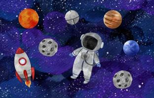 Watercolor Cute Astronaut In Outer Space vector