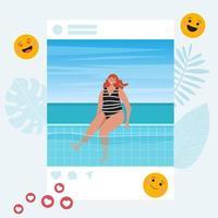 Influenciador de las redes sociales. mujer bloguera en verano en el marco del perfil social. concepto de selfie de verano. diferentes iconos de redes sociales. ilustración vectorial plana vector