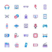 multimedia icon set with flat style. technology device sign symbol vector illustration