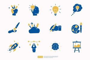 creativity related doodle icon concept with brain symbol. Creative design, idea, Inspiration, brainstorming, startup and think vector illustration