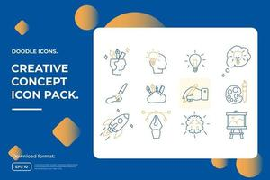 creativity related doodle icon concept with brain symbol. Creative design, idea, Inspiration, brainstorming, startup and think stroke line vector illustration