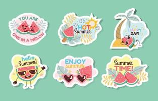 Summer Fruit Sticker Collection vector