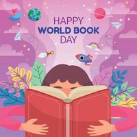 Children Reading Book for Literacy Day vector
