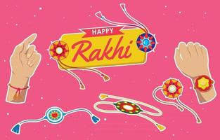 Raksha Bandhan Stickers Set vector