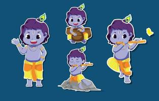 Janmashtami Characters Set vector