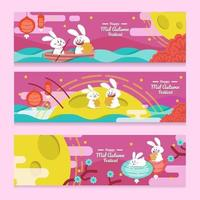 Set of Banners of Mid Autumn Festival vector