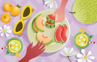 Honeydew Melon and Watermelon as Picnic Snacks vector