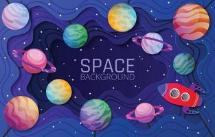 Spaceship and Planet in Space Cut Out vector
