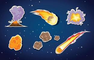 Meteor Stickers Set vector