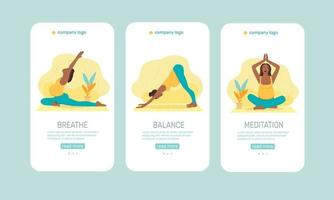 Vector mobile templates or mobile app onboarding screens for yoga lovers. Yoga poses for pregnant woman. Healthy pregnance concept. Pregnant woman doing yoga exercises and yoga poses.