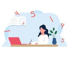 Young girl sitting at her Desk and looking at the computer, office at home. Girl distance learning with laptop, flat cartoon vector illustration isolated