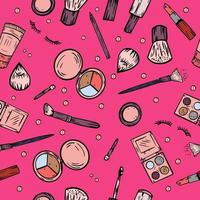 Vector seamless pattern with hand drawn makeup