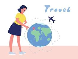 the girl chooses where to fly on the world globe. Vector flat illustration.