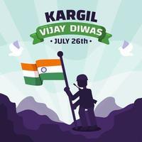 Kargil Vijay Diwas with Soldier Holding India Flag vector