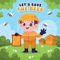 Protect Honey Bee Concept vector