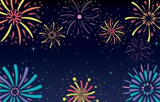 Firework Party in The Sky Background vector