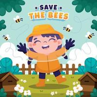 niña diviértete con las abejas vector