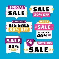 Set of Promotion Sale Label vector
