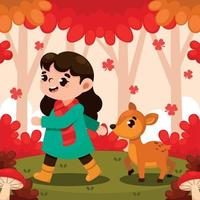 Cute Girl Walking in The Forest on Fall vector