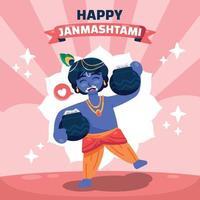 Janmashtami Greeting with Happy Krishna vector
