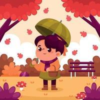 Little Girl at The Park on Fall Season vector