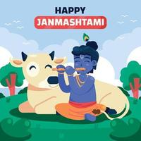 Janmashtami Greeting with Little Krishna and Cow vector
