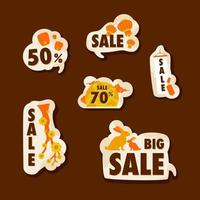 Set of Discount Label for Mid Autumn vector