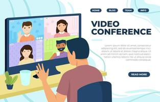 Video Conference Landing Page vector