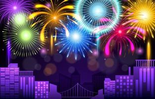 Celebration Of Firework Background vector