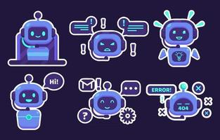 Chatbot Sticker Collections vector