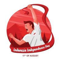 celebrando el día de la independencia de indonesia vector
