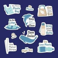 No Plastic Sticker Campaign vector